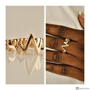 Check My Pulse - Gold Heartbeat Stretch Ring